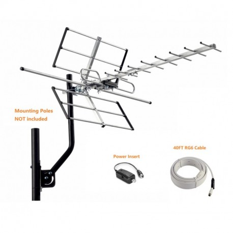 McDuory Digital Outdoor HDTV Antenna with Adjustable Gain Amplifier, 120 miles range, Tools Free Installation, VHF/UHF