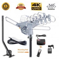 McDuory HDTV Antenna Amplified Digital Outdoor Antenna Mounting Pole Included Wireless Remote - UHF and VHF