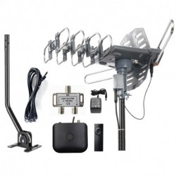 McDuory Outdoor Amplified Digital Antenna 150 Mile HDTV Antenna - 360 Degree Rotation with Infrared Control - High Performance in UHF/VHF- 40 Feet RG6 Cable/Mounting Pole/2-Way Splitter Included