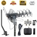 McDuory Amplified Outdoor Digital Antenna 150 Mile HDTV Antenna - 360 Degree Rotation with Infrared Control - High Performance in UHF/VHF- 40ft RG6 Cable/mounting pole/2-way Splitter Included
