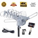 McDuory Amplified Outdoor HDTV Antenna 150 Miles Long Range - 360 Degree Rotation Remote Control - Snap On Element - UHF and VHF